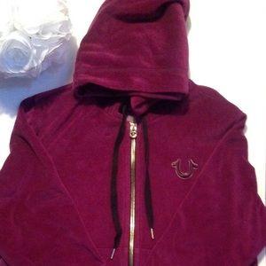 True Religion Women's Velour Zip Hoodie Size M